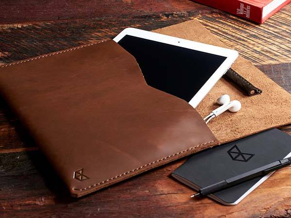 Handmade IPad Pro Leather Sleeve With Built In Apple