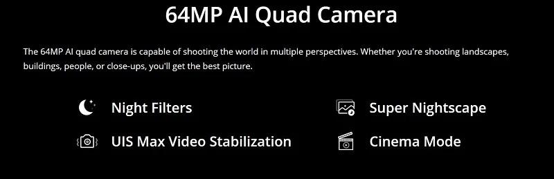 64-Megapixel AI Quad Camera
