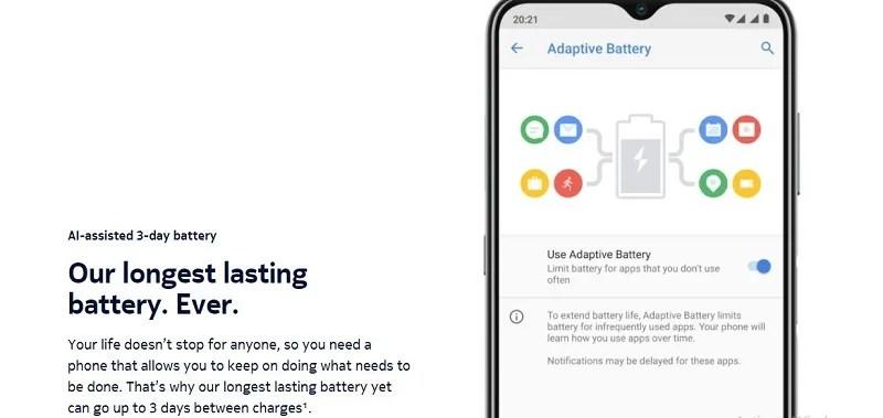 Nokia G20 long-lasting battery