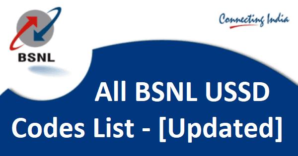 BSNL USSD CODES LIST (BSNL BALANCE CHECK) (2018)