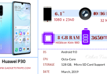 Huawei P30 Specifications
