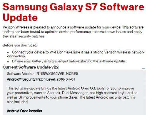 Verizon Galaxy S7 gets Oreo update [Update tutorial