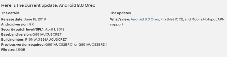 Download Official Oreo G891AUCU3CRE7 for AT&T S7 Active SM