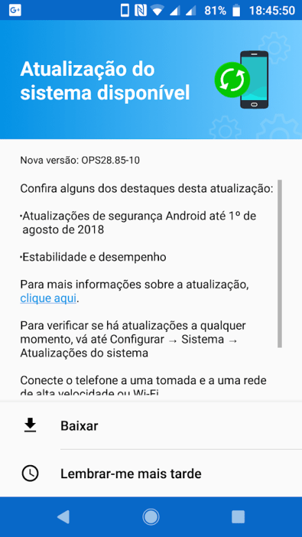 Android 8 1 Oreo with August 2018 patch released for Moto G5