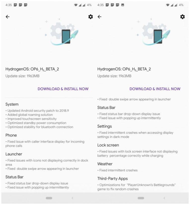 Download Hydrogen OS Beta 2 for OnePlus 6 - September 2018
