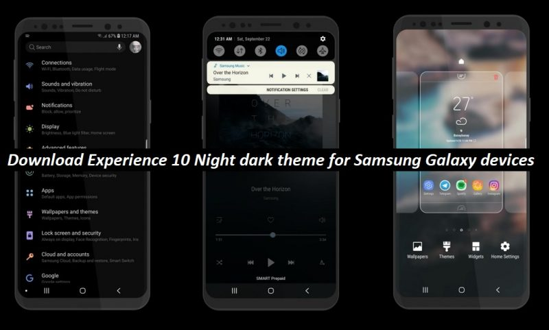 Download Experience 10 Dark Night Theme for Galaxy S9, S8, S7 & Note