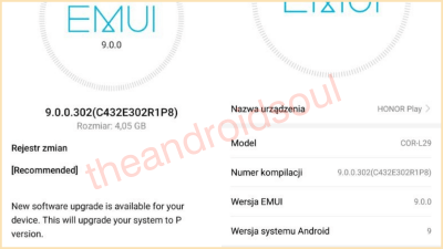 Honor Play gets Stable Android Pie update in Poland - build