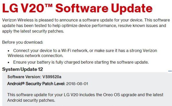 Download Stock Oreo VS99520a KDZ for Verizon LG V20 | GadgetsTwist