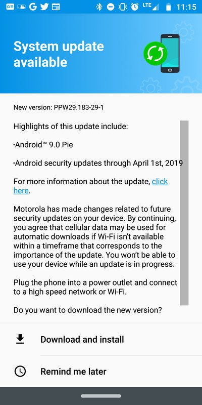 PPW29 183-29-1] US Moto Z3 Play finally gets Android Pie update
