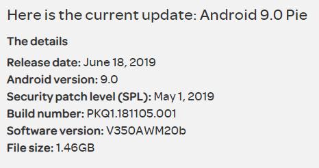 Download V350AWM20b/20c KDZ: Official Android Pie for AT&T LG V35