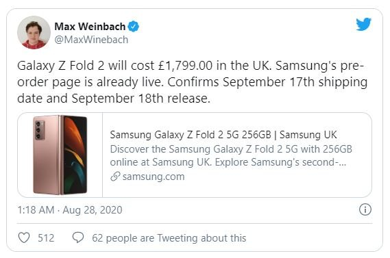 Unexpectedly: the flagship Samsung Galaxy Z Fold2 5G will be cheaper than its predecessor