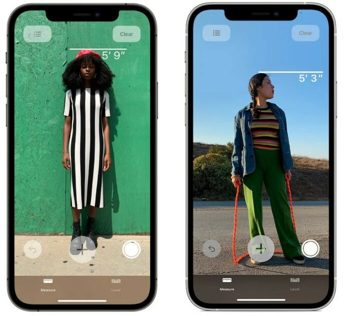 LiDAR in iPhone 12 Pro can be used to measure a person's height