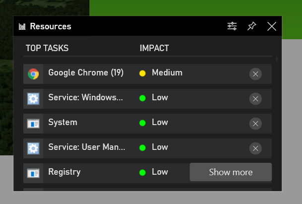 The updated Xbox Game Bar app allows you to monitor the processes consuming resources of CPU, GPU, memory and storage