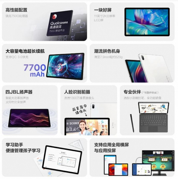 11-inch 2K screen, 7700 mAh and four JBL speakers for $ 310.  Tablet Lenovo Xiaoxin Pad Plus was 2.5 times cheaper than Samsung Galaxy Tab S7 FE