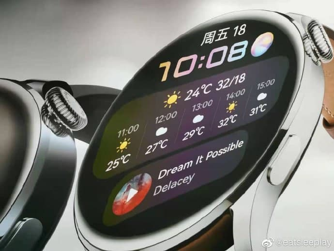 Two versions of Huawei Watch 3 with screen on pose in official images