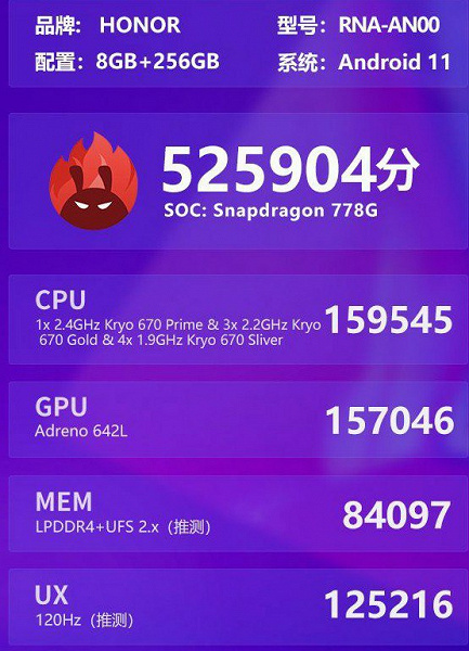 8 GB of RAM, 120 Hz and performance far from flagship.  Honor 50 Pro tested in AnTuTu