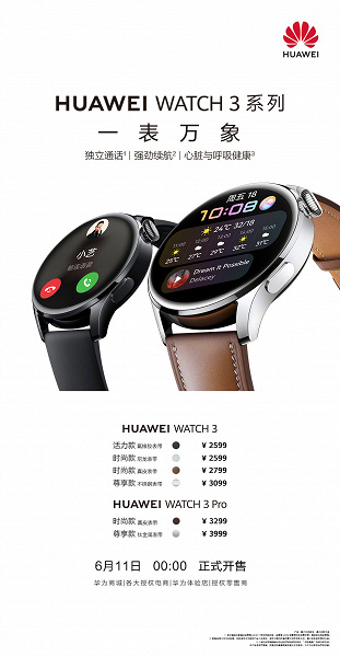 AMOLED screen, sapphire crystal, NFC, eSIM and HarmonyOS 2.0 starting at $ 410.  Sales of smart watches Huawei Watch 3 and Watch 3 Pro started in China