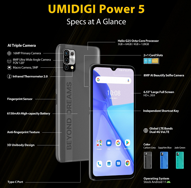 Triple camera, 6150 mAh battery and $ 100 infrared thermometer.  Umidigi Power 5 introduced