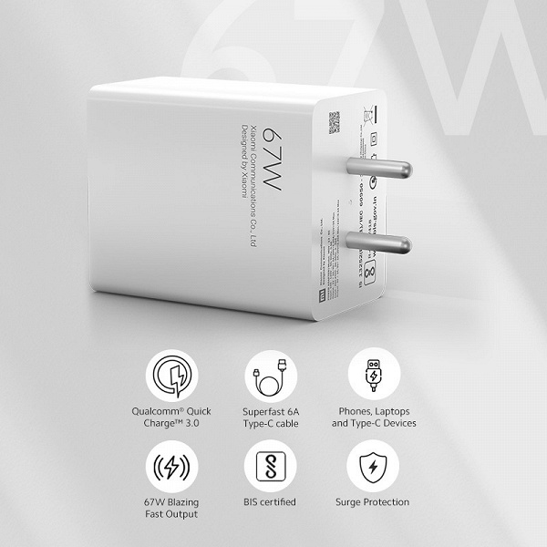 Xiaomi Mi 67W SonicCharge 3.0 charger with European plug presented