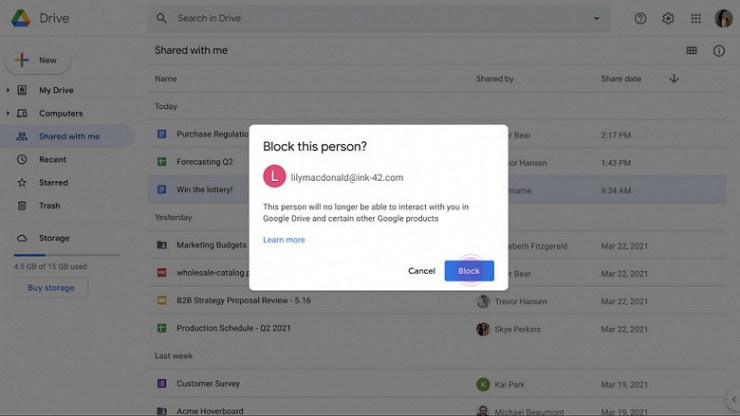 Google Drive can now block spammers