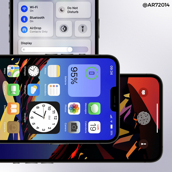 The first photos of the included iPhone 13 leaked before the presentation.  More information is now displayed in the status bar