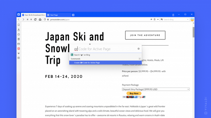 The Vivaldi alternative browser now has a translation of the selected text