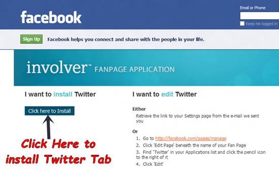 Add Twitter Tab to Facebook Fan Page