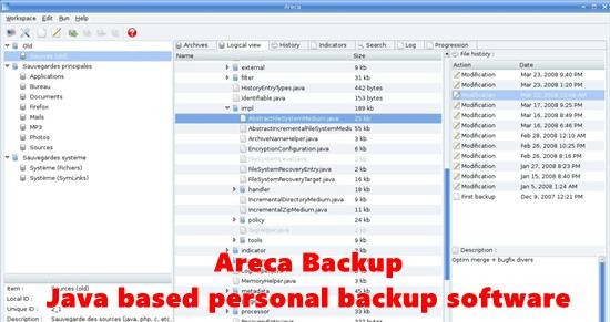 Areca Backup Java personal backup software