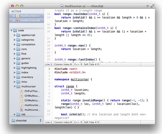 Chocolat text editor - mac os x text editor