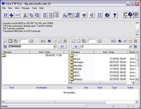 Core FTP FTP Clients and File manager : 15 useful FTP client, file manager and File sharing tool