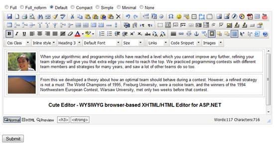 Cute Editor – WYSIWYG browser-based XHTML/HTML Editor for