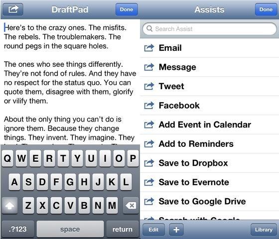DraftPad text editorfor DropBox