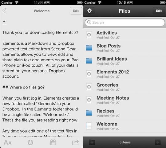 Elements text editor for DropBox