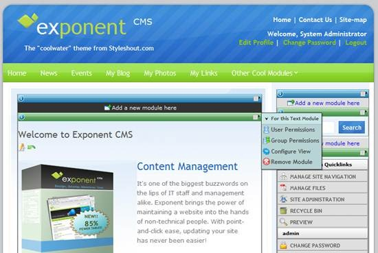 Exponent CMS - Modular enterprise software framework and CMS