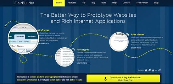 flair builder 15 useful wireframing, prototyping and Mockups tools