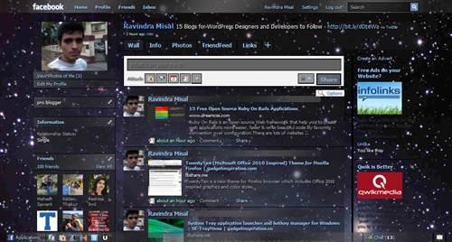 Galaxy Blue, transparency Facebook Theme