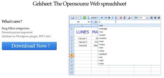 Gelsheet - A free PHP based Web spreadsheet