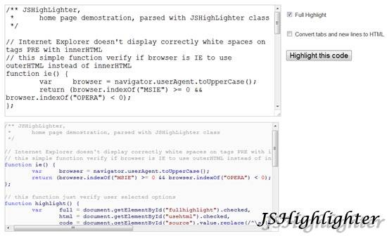 JSHighlighter 11 useful JavaScript syntax highlighter