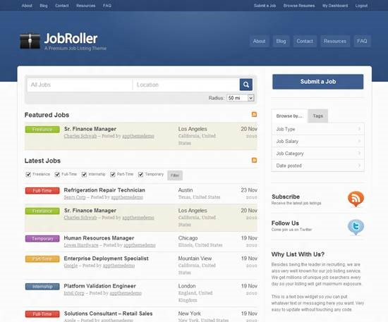 JobRoller job board theme for WordPress