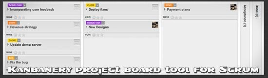 Kanbanery project board tool for Scrum