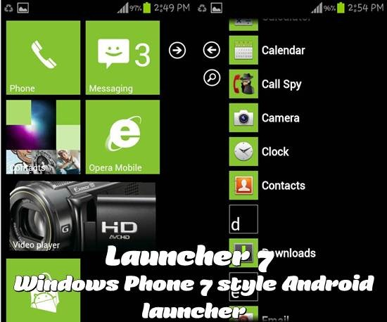 Launcher 7 - Windows Phone 7 style Android launcher