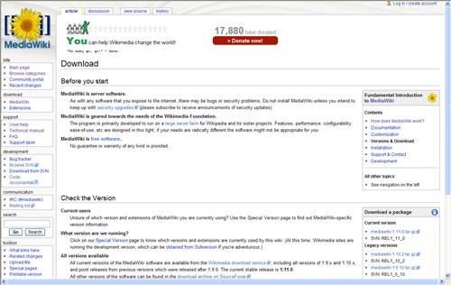 MediaWiki 17 open source wiki engine/software