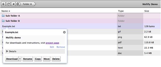 Mollify web based file manager
