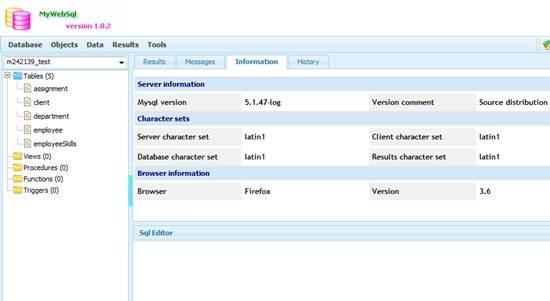 MyWebSql web based MySQL client