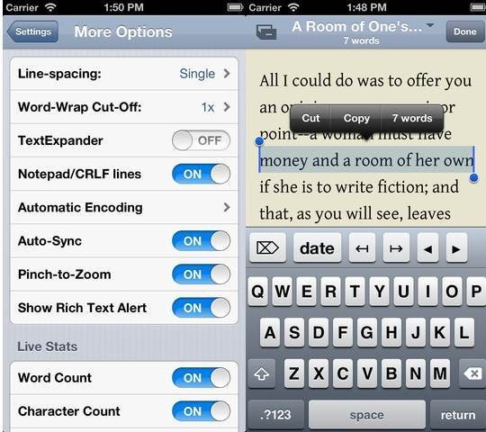 Nebulous Notes 6 useful Dropbox Text Editors for iPhone and iPad