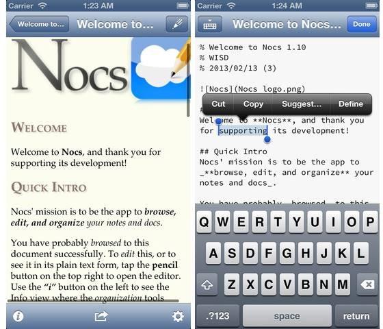 Nocs dropbox text editor