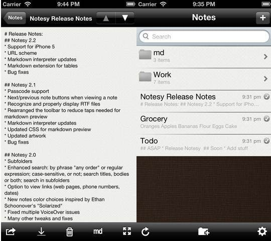 Notesy for Dropbox 6 useful Dropbox Text Editors for iPhone and iPad