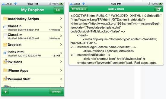Plain Text Dropbox text editor