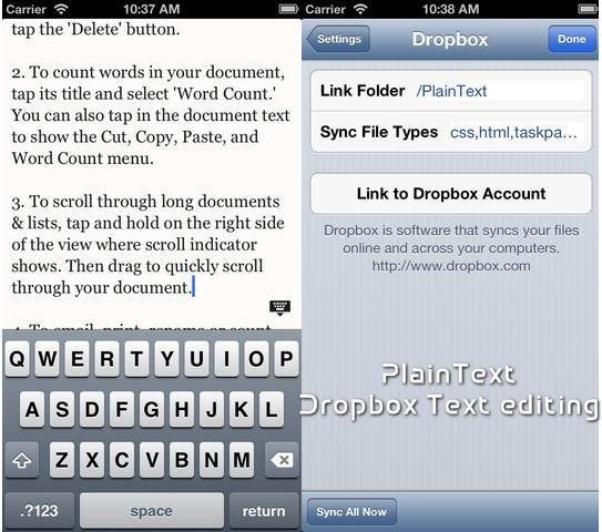PlainText 6 useful Dropbox Text Editors for iPhone and iPad