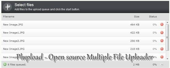 Plupload Open source Multiple File Uploader